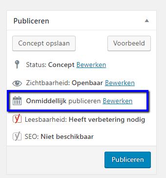 stap 1 - wordpress onmiddelijk publiceren