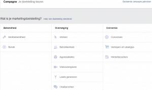 doelstellingen facebook adverteren